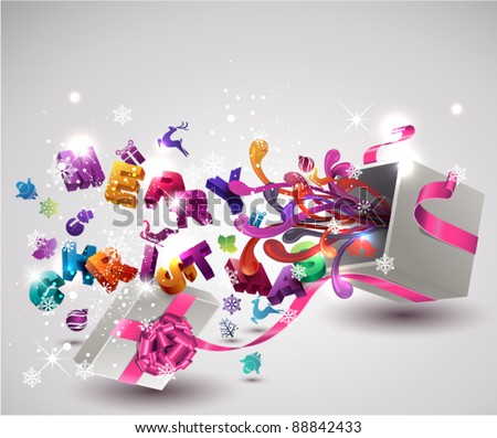 """Open  gift box with flying """"Merry Christmas"""" letters and Christmas icons. Vector background. - stock vector"""