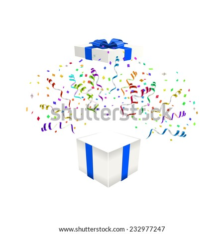 Open gift with confetti vector illustration background - stock vector