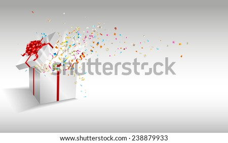 Open gift with fireworks from confetti. Congratulations on holiday. Border design. Vector background for promotions and offers. - stock vector