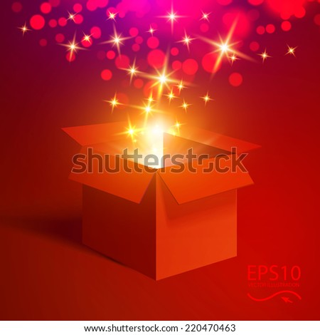 Open gift with fireworks from light vector background. Merry Christmas.  - stock vector