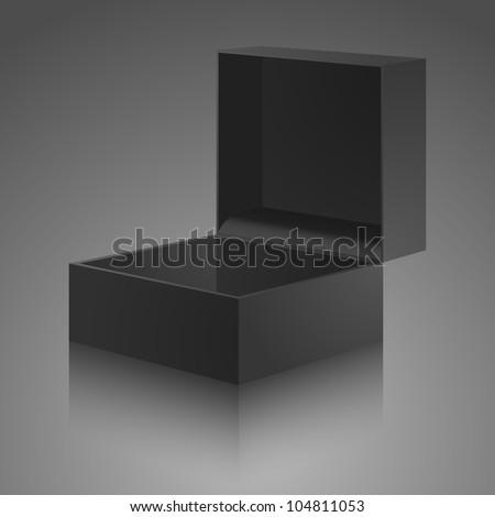 Open gray, black gift box with cover. The carton box - stock vector