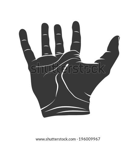 Open hand silhouette vector - stock vector