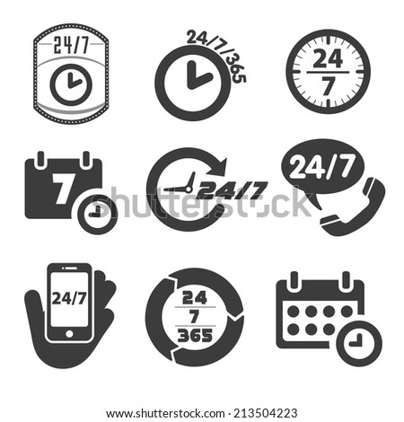 Open 24 hours a day and 7 days a week icons - stock vector