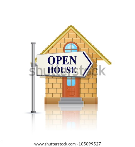 Open House for Sale with White Real Estate Sign. Vector Illustration - stock vector