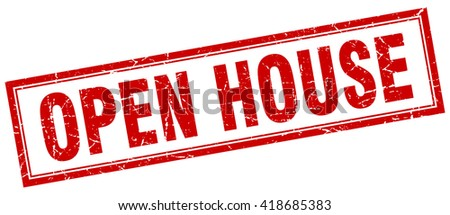 open house red grunge square stamp on white - stock vector