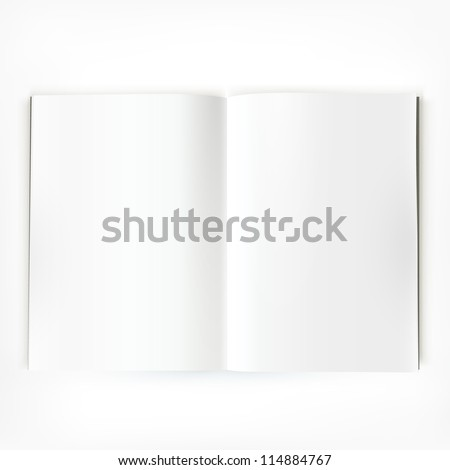 Open magazine double-page spread with blank pages. - stock vector