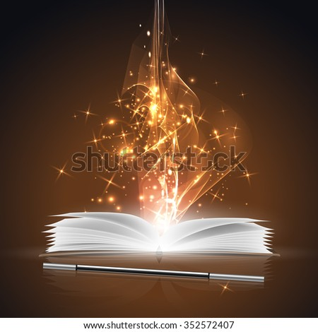 Open magic book and a wand with bright lights. - stock vector