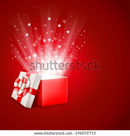 Open magic gift box with shine - stock vector