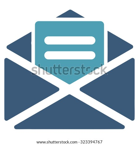 Open Mail vector icon. Style is bicolor flat symbol, cyan and blue colors, rounded angles, white background. - stock vector