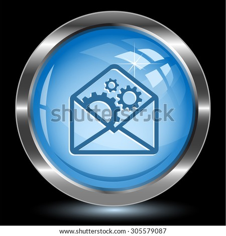 open mail with gears. Internet button. Vector illustration. - stock vector