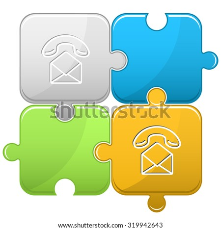 open mail with handset. Vector puzzle. - stock vector