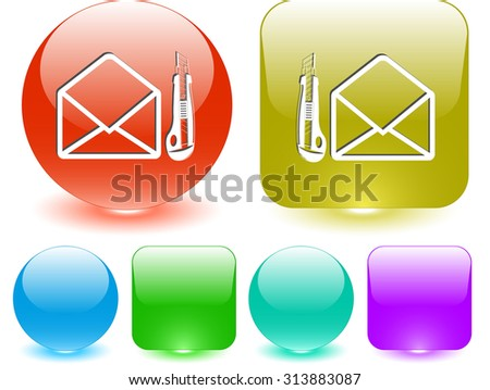open mail with knife. Vector interface element. - stock vector