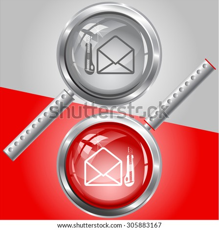 open mail with knife. Vector magnifying glass. - stock vector