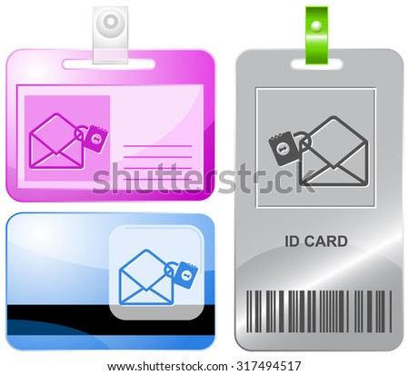 open mail with lock. Vector id cards. - stock vector