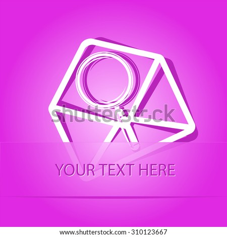 open mail with magnifying glass. Paper sticker as bookmark. Vector illustration. Eps10. - stock vector