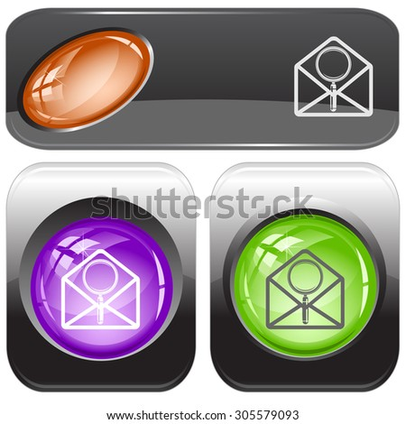 open mail with magnifying glass. Vector internet buttons. - stock vector