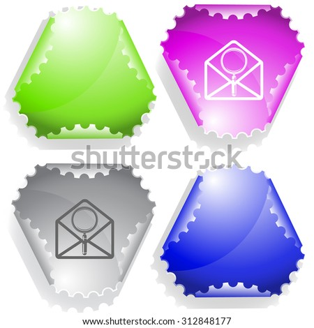 open mail with magnifying glass. Vector sticker. - stock vector