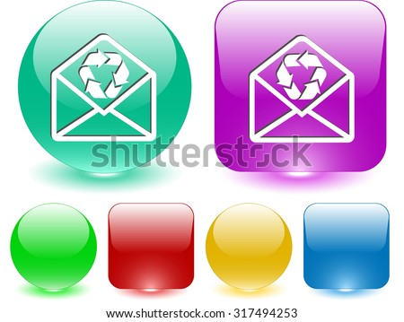open mail with recycle symbol. Vector interface element. - stock vector