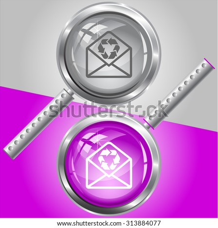open mail with recycle symbol. Vector magnifying glass. - stock vector