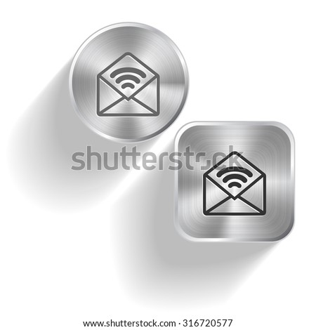 open mail with sound. Vector set steel buttons - stock vector