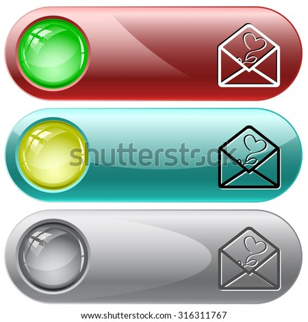 open mail with tulip. Vector internet buttons. - stock vector