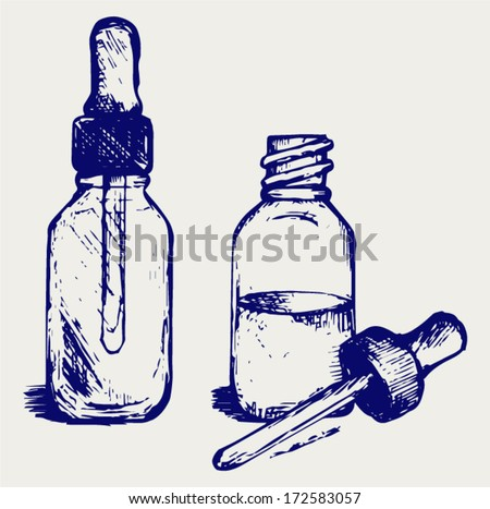 Open medicine bottle with a dropper. Doodle style - stock vector