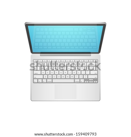 Open Modern Laptop, Top View, Vector Illustration - stock vector