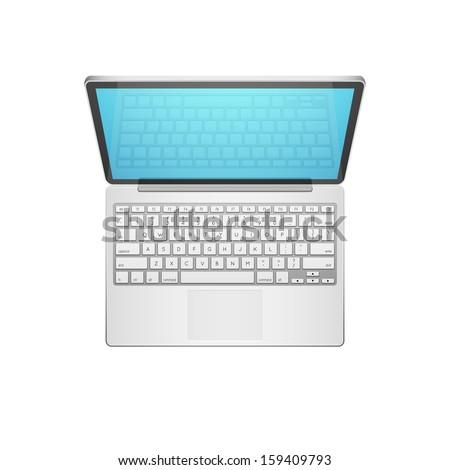 Open Modern Laptop, Top View, Vector Illustration - stock vector