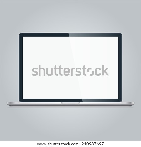 Open modern Laptop with blank screen isolated on white background. Computer monitor design metal illustration. Technology silver notebook. Black front display. Mobile desktop web concept. Vector EPS10 - stock vector