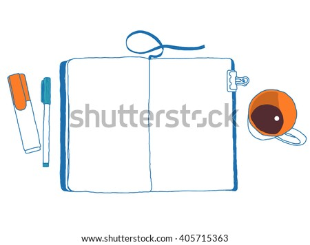 Open notepad, marker, pen and cup. Coffee break. Top view. Vector hand-drawn sketch. Place any of your image or text. - stock vector
