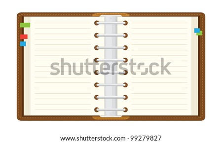 open notepad. The illustration on a white background. - stock vector