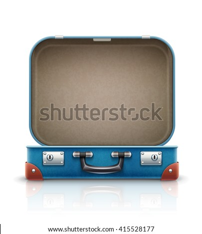 Open old retro vintage suitcase for travel. Vector illustration, Isolated on white background. Open case for luggage. Empty bag, box for travel and vacations trip. - stock vector