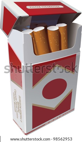 Open Pack of Cigarettes - stock vector
