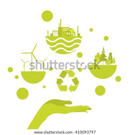 Open Palm Green Energy Icon Concept Logo Vector Illustration - stock vector