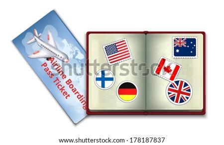 Open Passport and Airline Boarding Pass Ticket - stock vector