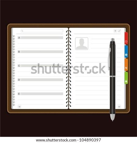 open personal organizer Vector - stock vector