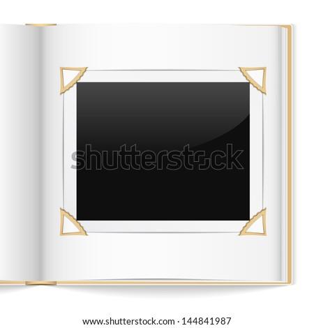 Open photo album on white background, vector eps10 illustration - stock vector