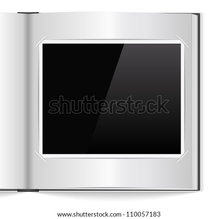 Open photoalbum with blank photo, vector eps10 illustration - stock vector