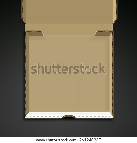 open pizza box template isolated on black background - stock vector