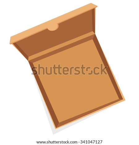 Open pizza box vector illustration. Pizza box delivery service. Craft pizza box isolated on background. Box for pizza, open pizza box. Pizza delivery business, food box, pizza box. Delivery pizza  - stock vector