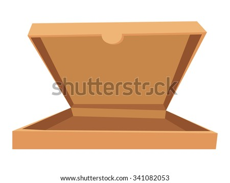 Open pizza box vector illustration. Pizza box delivery service. Craft pizza box isolated on background. Box for pizza, open pizza box. Pizza delivery business, food box, pizza box. Delivery pizza icon - stock vector