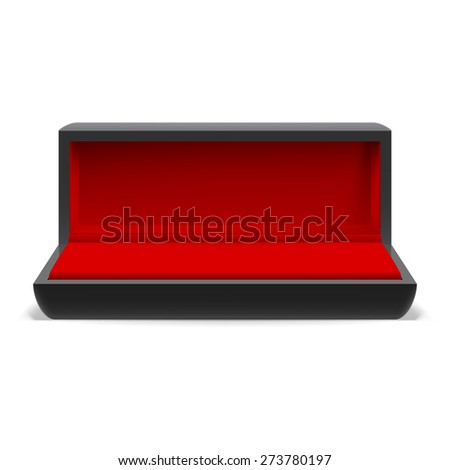 Open rectangular box for jewelry with a red interior on  white background - stock vector