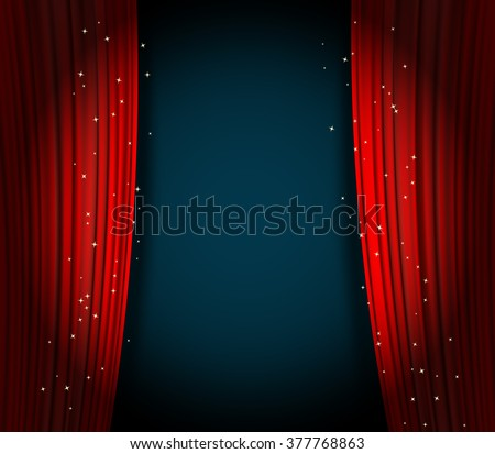 open red curtains theater background with glittering stars - stock vector