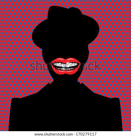 Open red lips with teeth abstract, vector illustration - stock vector