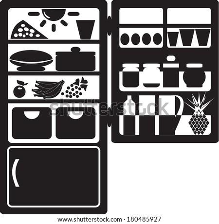 Open Refrigerator silhouette - stock vector