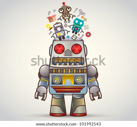 "Open robot box with flying ""retro robot toy"" with many toys - stock vector"