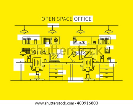 Open space office line art vector illustration. Designer working place creative concept. Minimal office space outline graphic design. Home working space with furniture (shelves, books, table, lamp). - stock vector