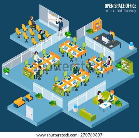 Open space office with isometric business company interior and people vector illustration - stock vector
