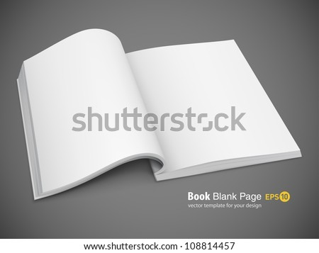 open spread of book with blank white pages vector illustration gradient mesh used EPS10. Transparent objects used for shadows and lights drawing. - stock vector