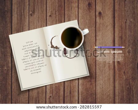 Open square format brochure on a wooden texture with cup of coffee - stock vector
